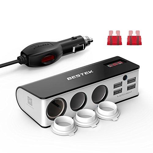 BESTEK 3-Socket Cigarette Lighter Adapter, 12V 24V 200W DC Cigarette Lighter Splitter Power Adapter with 6A 4-Port Car Power Adapter Splitter for GPS, Dashcam, with Replace Fuse