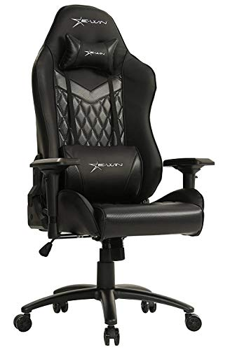 E-Win Champion Series Ergonomic Computer PC Gaming Home Office PU Leather Tall Back Desk Chair with Pillows, Black