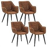 WOLTU 4 x Esszimmerstühle 4er Set Esszimmerstuhl Küchenstuhl Polsterstuhl Design Stuhl mit Armlehne, mit Sitzfläche aus Stoffbezug, Gestell aus Metall, Antiklederoptik, Braun, BH99br-4