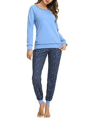 Hawiton Pijamas Mujer Invierno Manga Larga Conjunto de Pijama para Mujer Algodón Pantalones Largo Ropa de Casa 2 Piezas, Azul, M