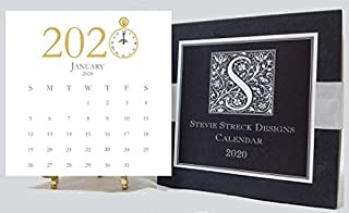 Stevie Streck 2020 Desk Calendar with Glitter and Gold Easel