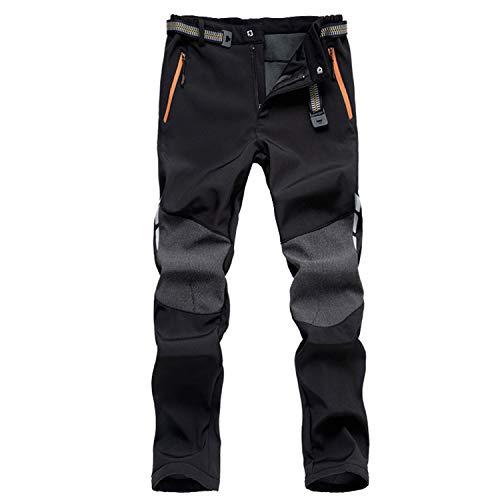 7VSTOHS Hombres Pantalones de Softshell Fleece Impermeable Pantalones de Montaña Prueba de Viento Transpirable Cálido Pantalón da Senderismo y Trekking para Invierno otoño Primavera