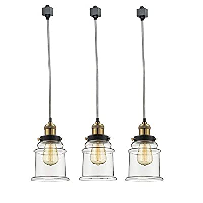 Kiven Set of 3 H-Type Track Lighting Industrial Kitchen Pendant Light - Antique Brass Hanging Fixture - Bulb Included