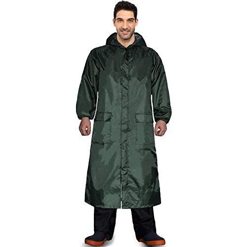 Long Rain Coat for Men Women Waterproof Poncho Jacket with Hood Portable Packable (X-Large, Dark Green)