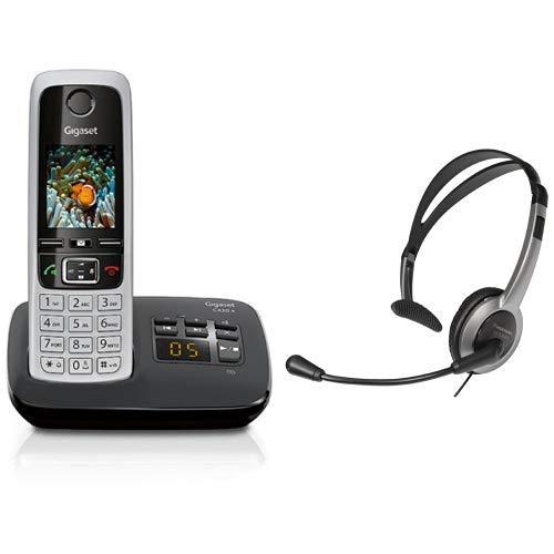 Gigaset C430A Telefon - Schnurlostelefon / Mobilteil - mit TFT-Farbdisplay / Dect-Telefon - mit Anrufbeantworter - Freisprechfunktion Schwarz & Panasonic RP-TCA430E-S Headset für KX-TGxx Serie