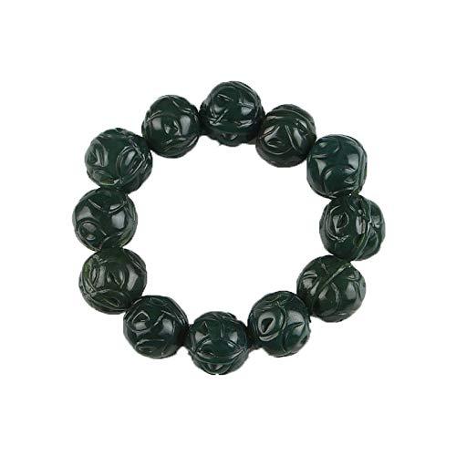 ZHIBO Piedra Joya de la Moda de Tallado a Mano Verde Oscuro Piedra Natural de Pulsera China nueces Mano de Perlas Pulsera de los brazaletes de los Hombres/aaaaa hetian Jade