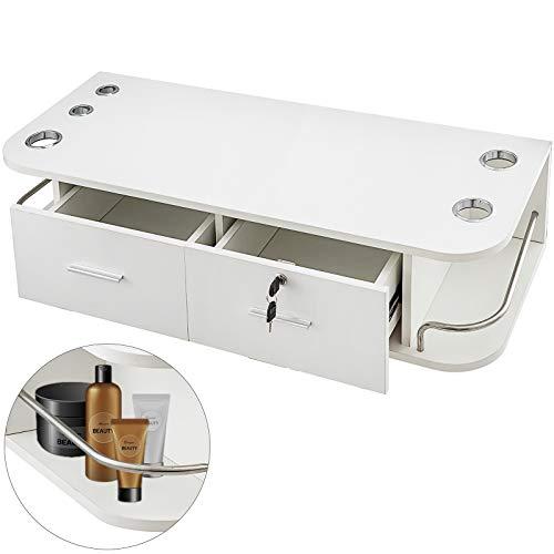 VEVOR 105 x 41 x 22,5cm Wandregal mit Schublade mit 2 Schubladen Weiß Wandschublade für Salon SPA...