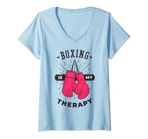 Mujer Boxeo Es Mi Terapia Amante Deportivo Entrenador Divertido Boxer Chica Camiseta Cuello V