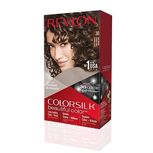 Revlon ColorSilk Colorazione Permanente Capelli Fai-da-te a Casa, Senza Ammoniaca e Arricchita con Cheratina, 30 - Castano Scuro