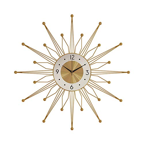 Wushu Reloj De Pared De Moda Colgando De Pared De Metal, Reloj De Decoración De Lujo Silencioso, Usado para Decoración De Sala De Estar Disponible Espacio Espacio Pendiente, Oro(Size:70cm/27.6in)