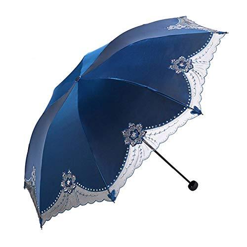 XCWQ Paraplu tegen uv-zonnecrème voor het afdekken van zon, regen, paraplu, zwart rubber, zakparaplu en geborduurd damesscherm