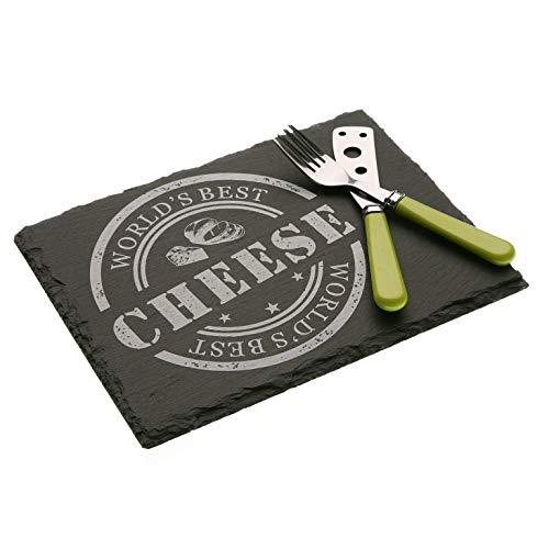 takestop® Tabla de pizarra para cortar queso con cubiertos, cuchillo y tenedor...