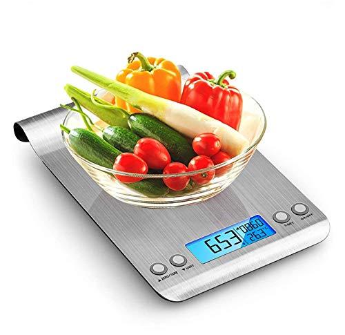 himaly Báscula Digital para Cocina de Acero Inoxidable, 5KG/11 LB, Báscula Balanzas de Alta Precisión Balanza de Alimento Multifuncional, Peso de Cocina con LCD(Baterías Incluidas)