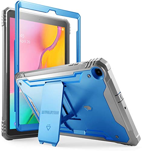 Galaxy Tab A 10.1 2019 Rugged Case with Kickstand, SM-T510/T515, Poetic Full Body Shockproof Cover, Built-in-Screen Protector, Revolution, for Samsung Galaxy Tab A Tablet 10.1 Inch (2019), Blue