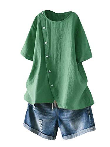 Mallimoda Damen Leinen Bluse Tunika Sommer Kurzarm T-Shirt Elegant Oberteil Grün XXL