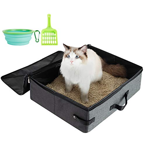 HiCaptain Travel Cat Litter Box with Lid and Handle Standard Portable Collapsible Litter Carrier for Cat (M,Black/Gray)