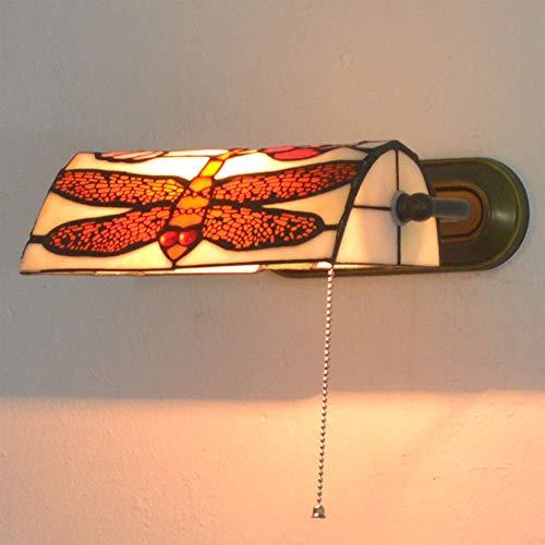Wandleuchte, Wandleuchten im Tiffany-Stil, amerikanische Retro-Wandleuchte Glasmalerei Lampenschirm Schlafzimmer Nachttischlampe mit Zugschnurschalter, verstellbare Wandleuchte für Wohnzimmer Cafe Ba