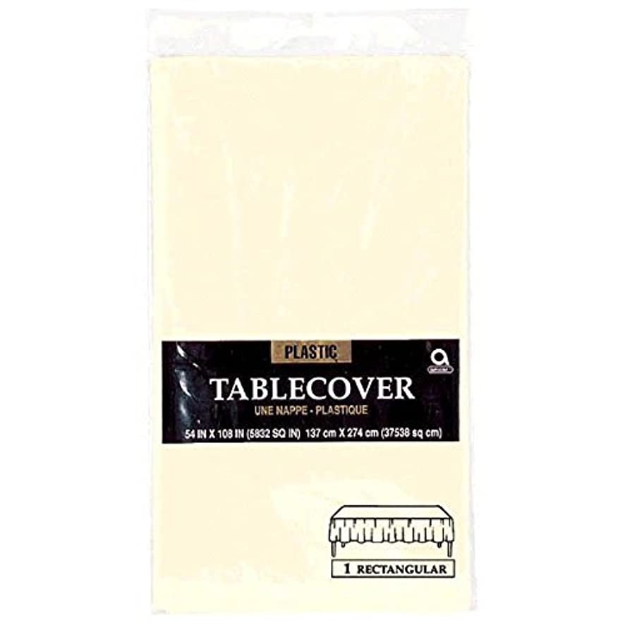 Amscan Disposable Rectangular Plastic Party Table Cover Tableware, Crème, Plastic , 53