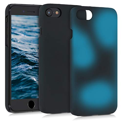 kwmobile Thermal Sensor Case Compatible with Apple iPhone 7/8 / SE (2020) - Color Changing Heat Sensitive Hard Cover - Black/Blue