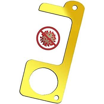 Non-Contact Key Door Opener Closer Contactless Safety Door Opener Smart Key Tool,Keep Hands Clean Door Opener Door Opener Tool No Touch Royacon Handheld Brass EDC Keychain Tool
