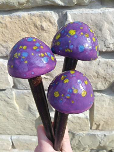 Garden Mushroom Stake Set of 3 ~ Ceramic Mushrooms ~ Garden Decor ~ Purple w Yellow and White Speckles ~ Garden Stakes ~ Yard Art ~ Toadstool