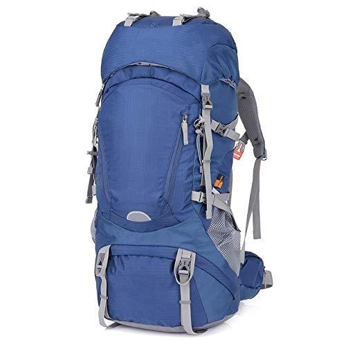 Hjkl 60L étanche randonnée Camping Sac Femme en Plein air Trekking Voyage Sac à Dos armée Homme Chasse Montagne Sacs à Dos Couverture de Pluie Sac à Dos-Bleu