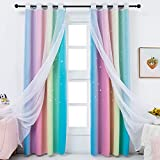 Anjee Star Curtains for Kids 2 in 1 Double Layer Blackout Curtains Grommets Top Star Cutout Ombre Rainbow Curtains Sheer for Living Room Girls Bedroom 2 Panels in 52 x 84 inch, Pink and Yellow