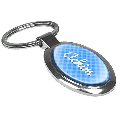 Schlüsselanhänger mit Namen Achim - Motiv Karomuster - Namensschlüsselanhänger, personalisierter Anhänger, Talisman, Anhänger, Chrom