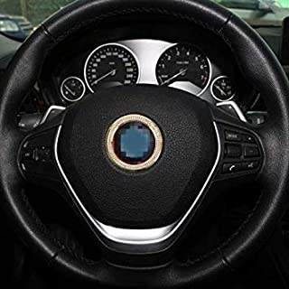 Uniqus Car Aluminum Steering Wheel Decoration Ring with Diamonds for BMW(Gold)