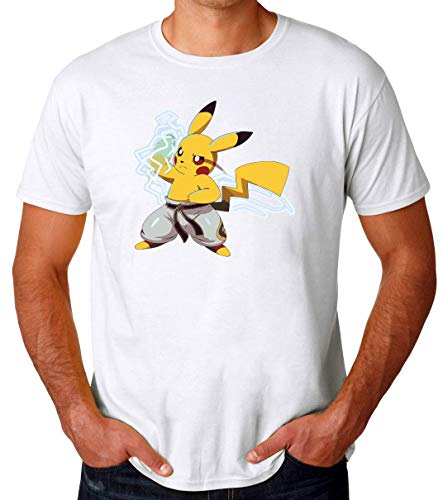 TeeWorld Pikachu Kung Fu Funny Camiseta para Hombres XX-Large