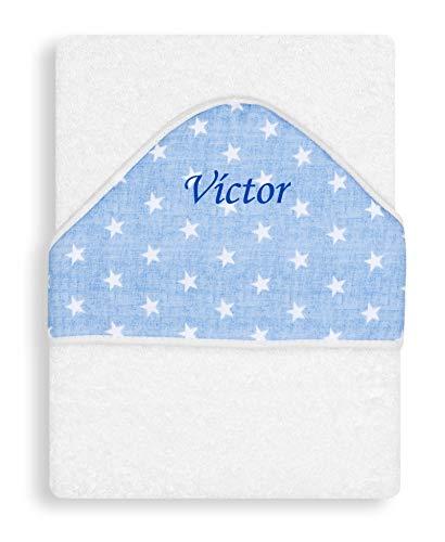 Toalla Capa de baño Bebe Personalizada con nombre bordado - Color Blanco-azul- Danielstore