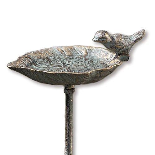 HausderHerzen Vogeltränke Blatt Vogelbad + Stab Aufsteller Vogel Gartenstecker Futterschale