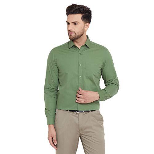D Kumar Men's Cotton Regular Fit Green Solid/Plain Full Sleeves Formal/Casual Shirt