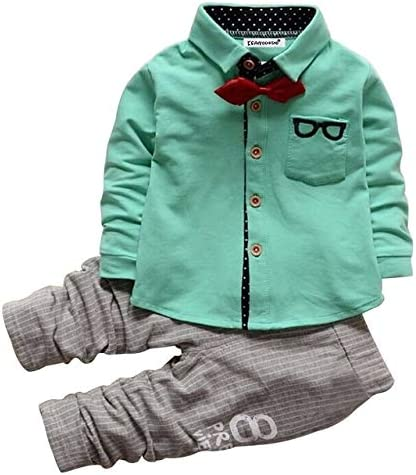 Jiangym Kids Clothing Boys Bow Tie Long Sleeve Top + Letter Print Pattern Pants Set, Kid Size: X(Green) Boys Clothing