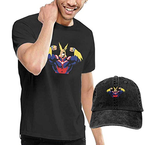 Tengyuntong sunminey Homme T- T-Shirt Polos et Chemises All Might Combination Hat and Tshirts for Man Black