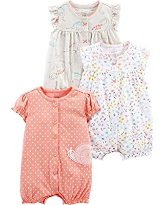 Simple Joys by Carter's Girls' 3-Pack Snap-up Rompers, dino/floral/Snail, 0-3 Months