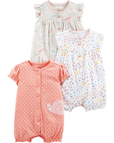 Simple Joys by Carter's Girls' 3-Pack Snap-up Rompers, dino/floral/Snail, 12 Months