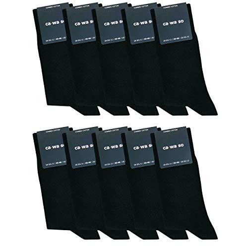 ca·wa·so Damen und Herren Socken - Business und Freizeit (10 Paar) schwarz 47-50