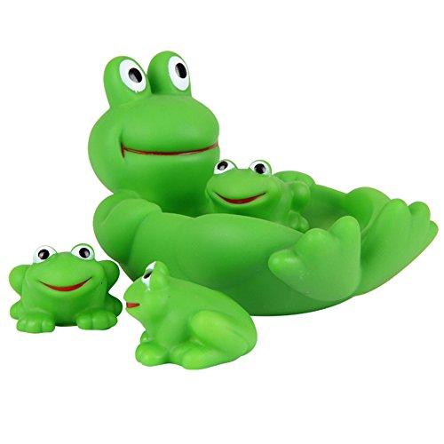 Morbuy Juguetes de baño One Big Three Small Juguetes de Baño para Bebés Natación del Juguete del Baño del Bebé de la Diversión de la Ducha Chirridos Animales Juguetes para el Baño (Rana)