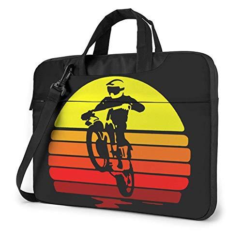 15.6 inch Laptop Shoulder Briefcase Messenger Dirt Bike Motocross Retro Vintage Sunset Tablet Bussiness Carrying Handbag Case Sleeve
