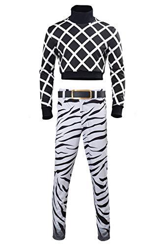 Disfraz de JoJo's Bizarre Adventure Guido Mista para Hombre Halloween Jersey de Rayas Negro y Blanco y Pantalones Conjunto Completo, L