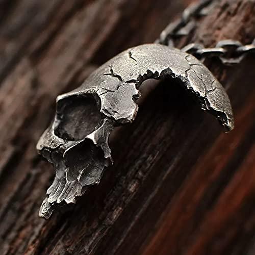 Drawihi Men Half Skull Face Pendant Necklace Metal Gothic Jewelry Horror Skeleton Biker Rock Chain Necklaces Rock