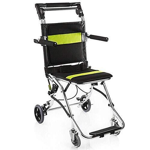 Silla de ruedas Soar Plegable Plegable - Suministros médicos Plegable de Aluminio Ultraligero con Freno for los discapacitados y los Ancianos - Cinturón de seguri