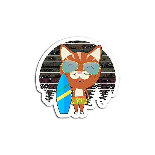Christmas Decal Stickers for Laptop Sticker for Tumblers Funny Cat Wearing Sunglasses Holding Surfboard Waterproof Decal Perfect for Phone Water Bottle Vehicles (5 Pcs/Pack)