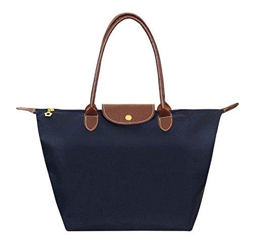 New Nylon Large Bag Ladies Women Handbags Female Folding Long Shoulder Famous Brands Tote Bags (MEDIUM, Purple)