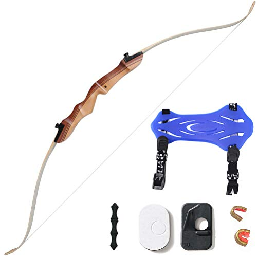 Huntingdoor 48'' Archery Beginner Bow 16Lbs 20 Lbs Takedown Recurve Bow Wooden Riser Childer Youth Bow for Right Hand Practice Shooting
