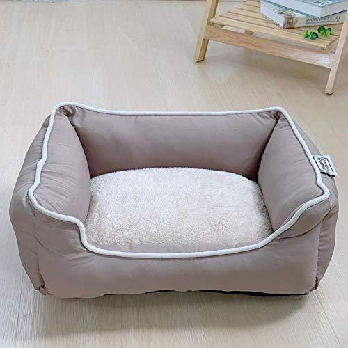 Cama para Perros de Felpa Suave y cálida Cama para Perros Cama para Dormir mullida sofá para Mascotas Perros pequeños y medianos de Varios tamaños -Caqui_S-42 * 36cm
