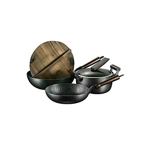 KJLY Iron Pots Cooking Soup Pots 5-Piece Set, Handmade Non-Stick Iron Pots, Pots & Pans Sets