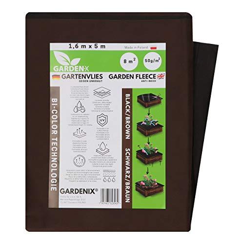 GARDENIX 8 m² Double Face Marron Noir Polaire de Protection Contre Les Mauvaises Herbes en Non-tissé résistant aux déchirures, épaisseur : 50 g m²,stabilisation UV (1,6m x 5m)