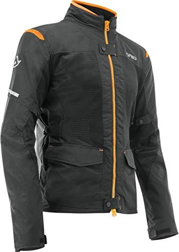 Acerbis Chaqueta de moto con protectores Ramsey My Vented 2.0, chaqueta textil larga negro/naranja, XL, para hombre, Tourer, todo el año